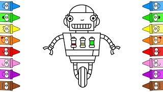 robot drawing draw easy coloring robots exclusive colored musical birijus