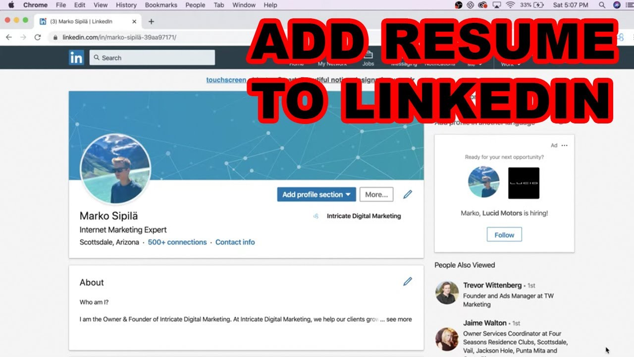 How To Add Resume To Linkedin Profile Updated 2020 Youtube