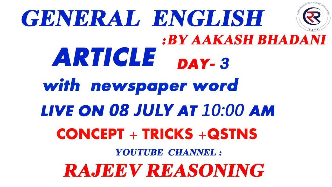 ARTICLE  DAY - 3| by AAKASH BHADANI
