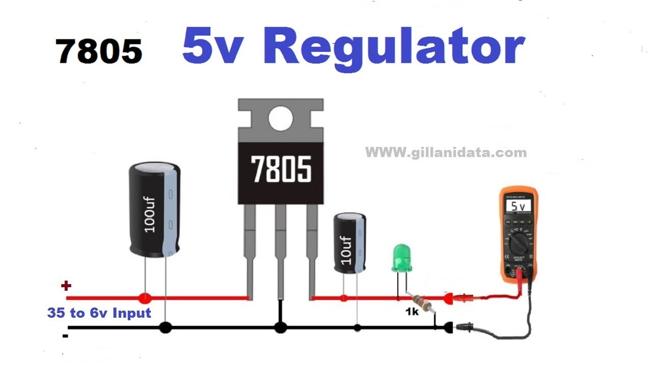 hight resolution of 5 volts dc power supply with 7805