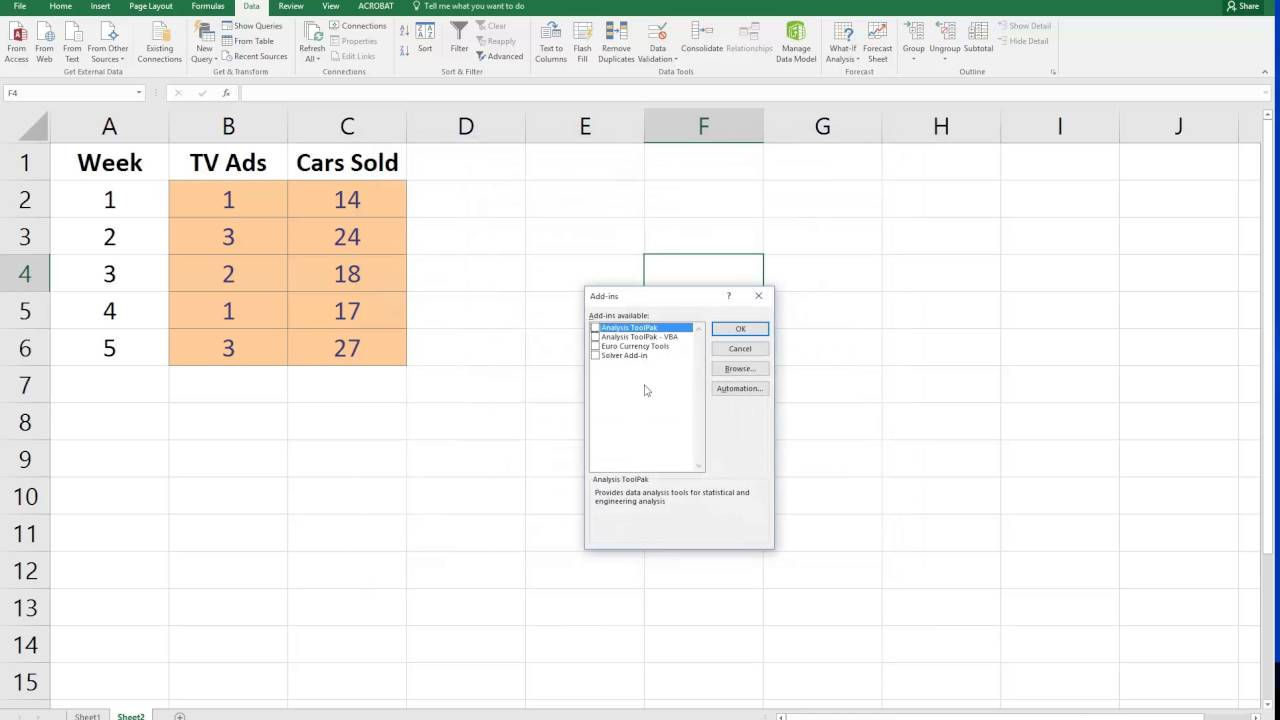 How to Add the Data Analysis ToolPak in Excel 2016 for Windows