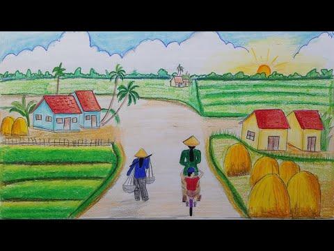 VẼ TRANH PHONG CẢNH QUÊ HƯƠNG ĐƠN GIẢN EP 5    draw scenery of rural life
