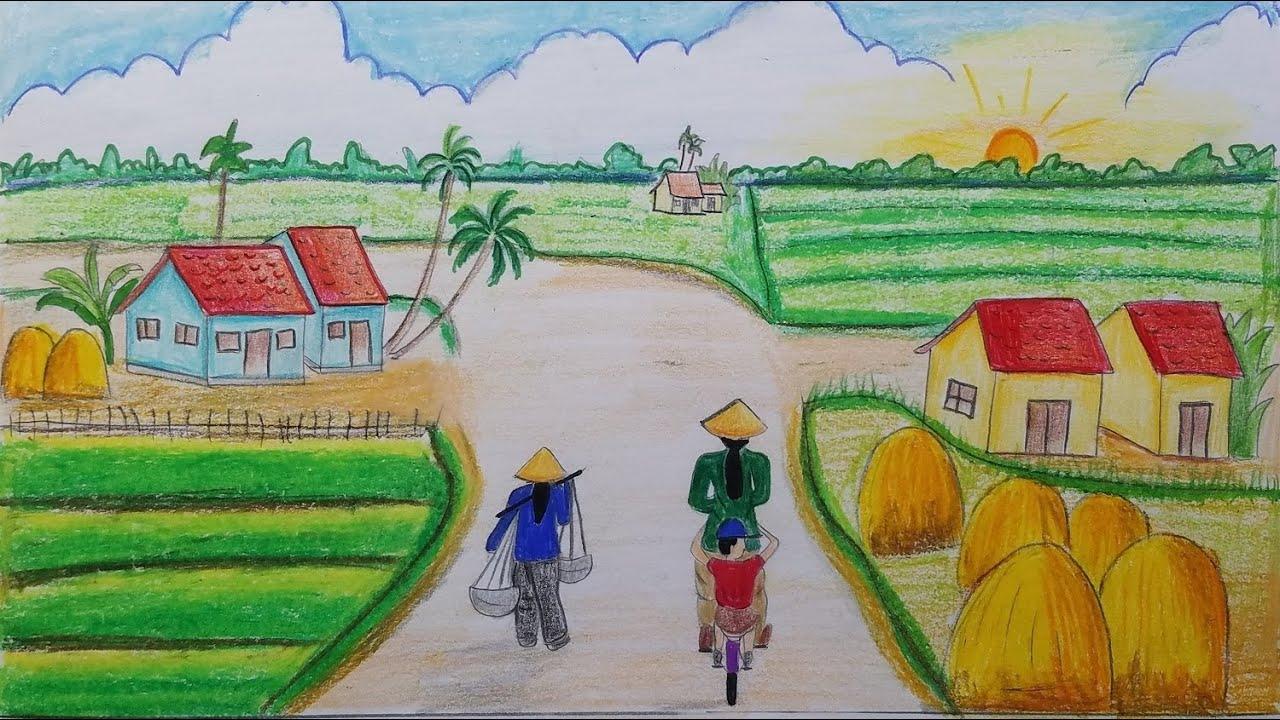 VẼ TRANH PHONG CẢNH QUÊ HƯƠNG ĐƠN GIẢN EP 5    draw scenery of rural life   Tất tần tật các thông tin nói về vẽ tranh đề tài quê hương em lớp 6 chuẩn nhất