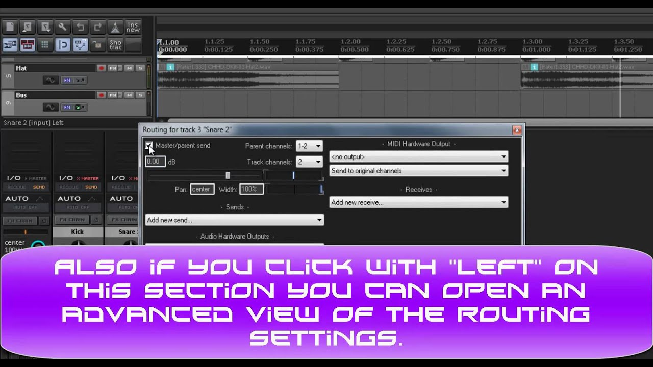 REAPER - How to create a Bus track (routing) - really simple -