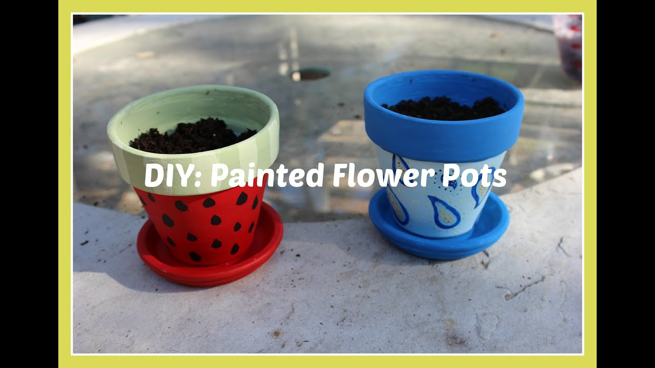 Diy painted flower pots youtube for Big pot painting designs