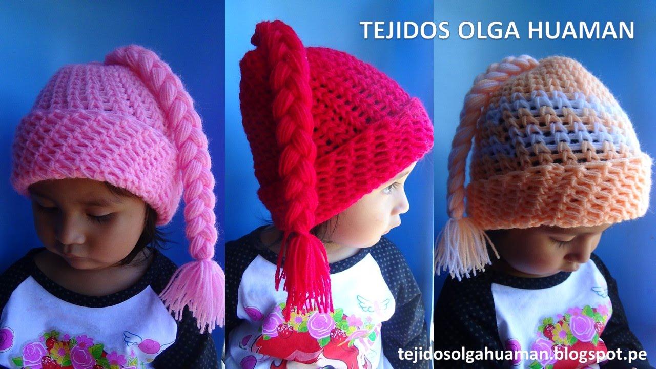 ea6dc90e1 Gorro con trenza para bebe o niña tejido a crochet FÁCIL DE TEJER - YouTube