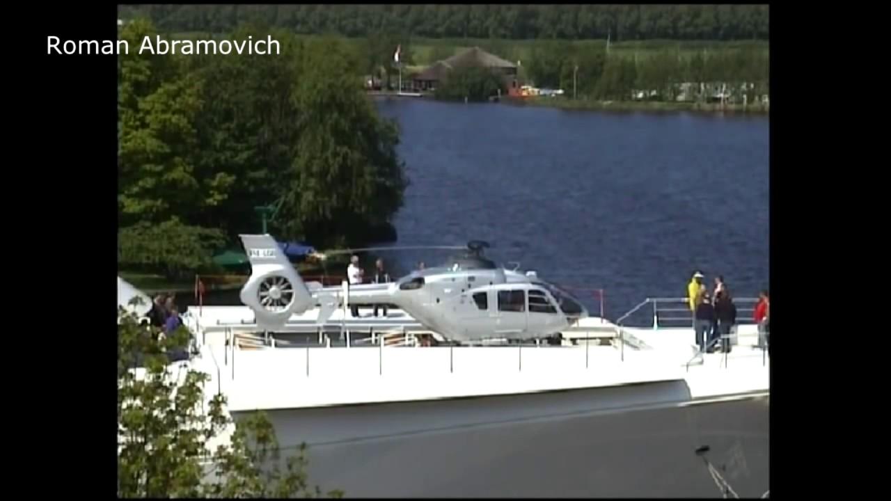 Superyacht abramovich  Abramovich Testing helicopter Garage Super Yacht - YouTube