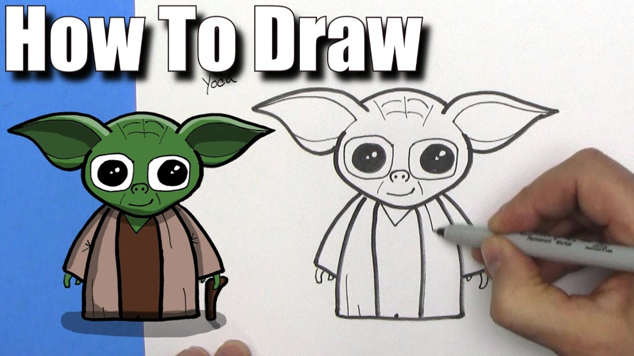 How To Draw Cute Cartoon Yoda EASY CHIBI