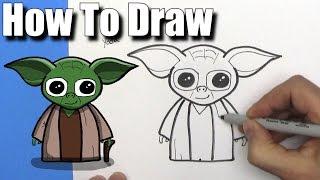 How To Draw Cute Cartoon Yoda -EASY CHIBI - Step By Step