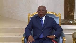 CONGO UN ENVOYE SPECIAL DE L'UE POUR LA REGION DES GRANDS LACS RECU EN AUDIENCE VISION4 TV CONG