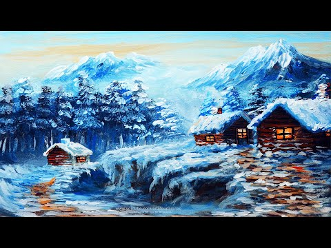 WINTER SNOW BASIC LANDSCAPE PAINTING Lesson with Houses | LIMITED ACRYLIC COLORS TUTORIAL BEGINNERS