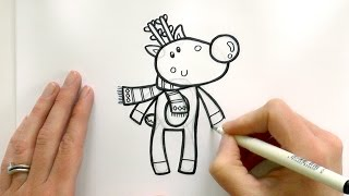 How to Draw a Cartoon Rudolph the Red Nosed Reindeer