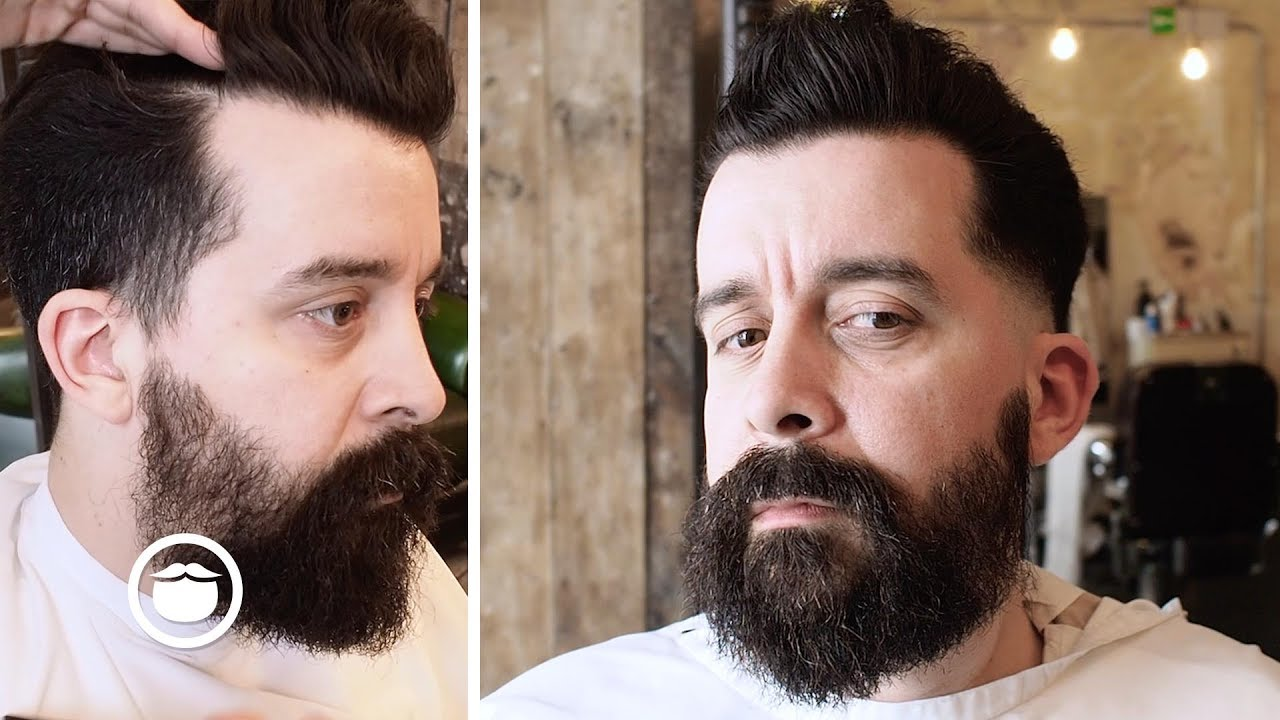 Pompadour With Skin Fade Into Patchy Beard YouTube
