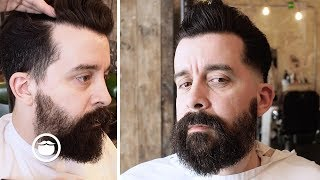 Pompadour with Skin Fade Into Patchy Beard thumbnail