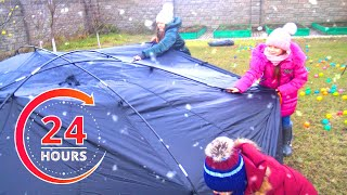 Magic Christmas story or Nadiia & Petro pretend play 24 hours in trampoline | Challenge - Chiki-Piki