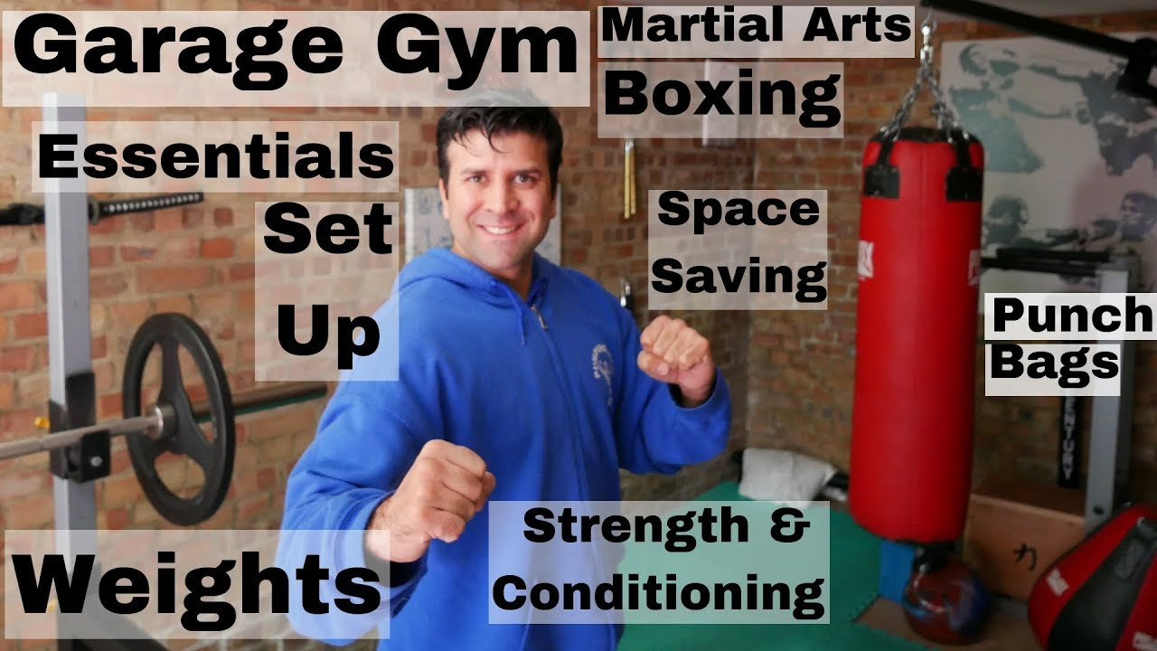 Garage gym for boxing martial arts & fitness. essentials for home