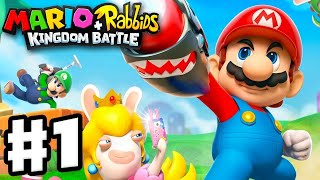 Mario + Rabbids Kingdom Battle - Gameplay Walkthrough Part 1 - World 1 Ancient Gardens! 2 Hours!