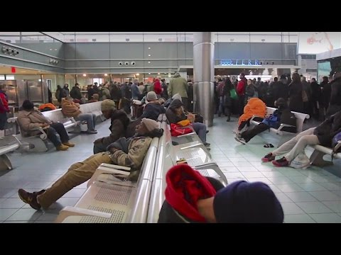 Dozens of homeless sleep at the Staten Island Ferry terminal