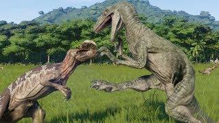 5 Velociraptor VS 7 Dilophosaurus - Jurassic World Evolution