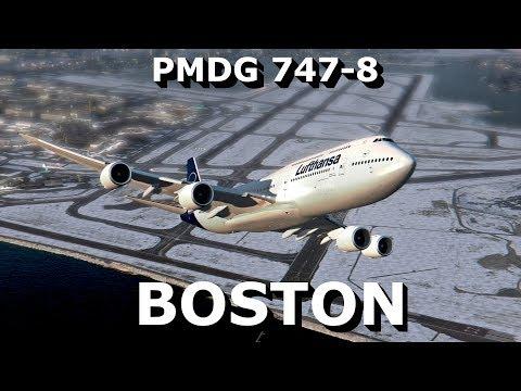 [P3Dv4] 747-8 || BOSTON || PB + TAXI + TAKE OFF