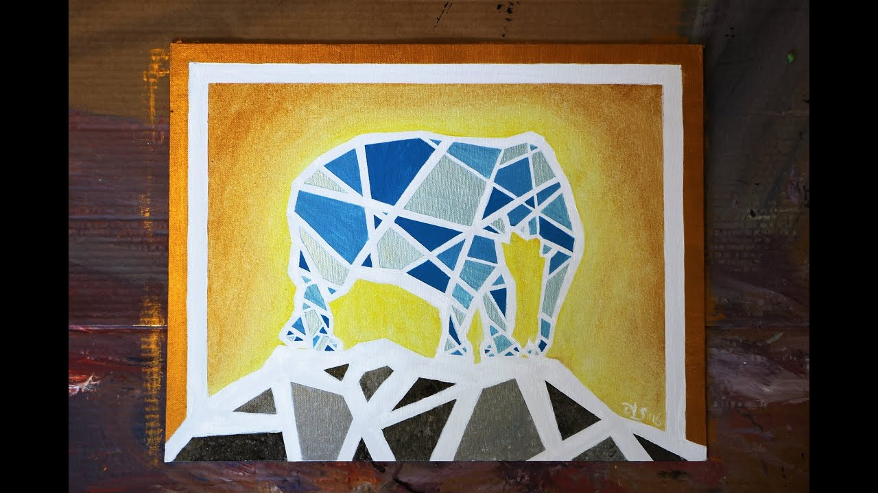 How to Paint a GEOMETRIC MOSAIC ELEPHANT - YouTube