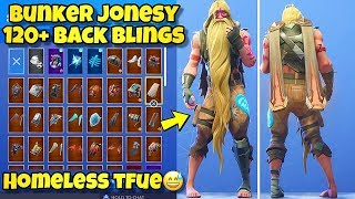 "NEW ""BUNKER JONESY"" SKIN Showcased With 120+ BACK BLINGS! Fortnite Battle Royale HOMELESS TFUE SKIN"