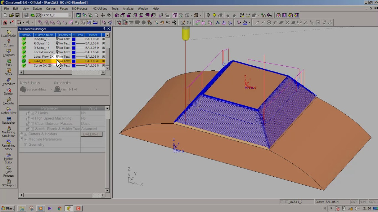 hight resolution of machining simulation using cimatron part4