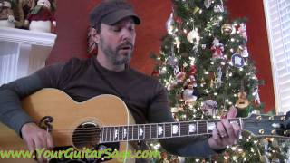 Away in A Manger - How to play on acoustic guitar Christmas song beginner lesson