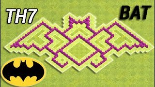 Batman Base (Bat) Town Hall 7 (TH7) / Defense Strategy / Best Design - Clash of Clans (COC)