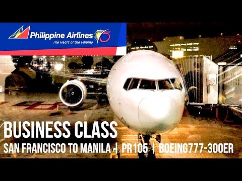 PHILIPPINE AIRLINES BUSINESS CLASS SAN FRANCISCO TO MANILA PR105 | BOEING 777-300ER + GO AROUND