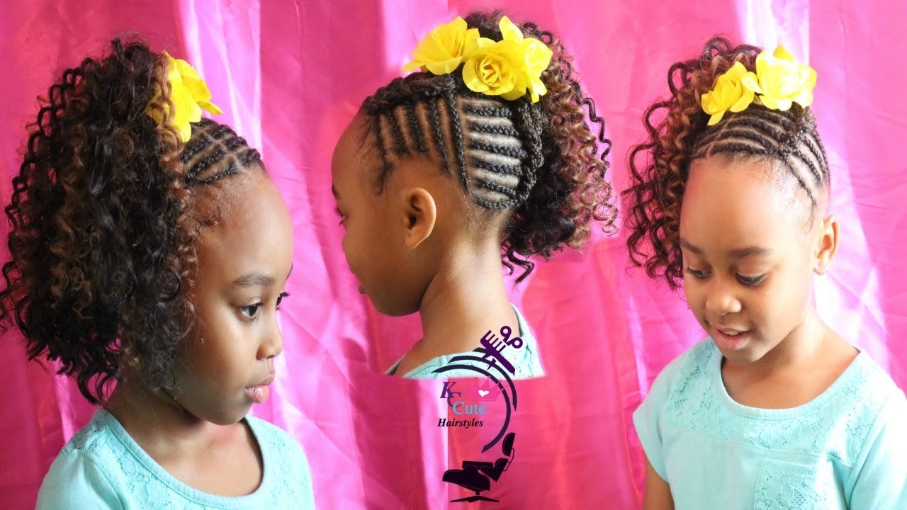curly crochet ponytail girls hairstyle kids