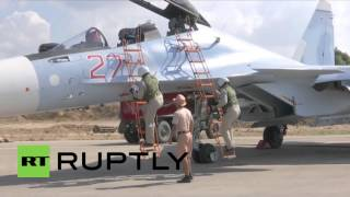 Syria: Sukhoi Su-30M armed before take-off for another sortie