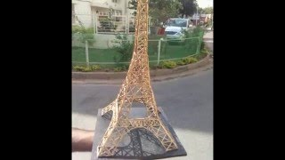"""How to make """"EIFFEL TOWER from MATCHSTICKS"""" for valentine gift"""