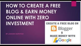 In this video we are going to see step by process of creating a free blog blogspot or blogger.com and also the key steps involved earning money fr...