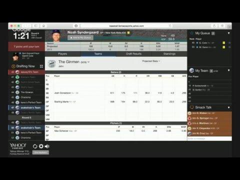 2016 Yahoo Fantasy Baseball Winner's Roto (Rotisserie) League Draft