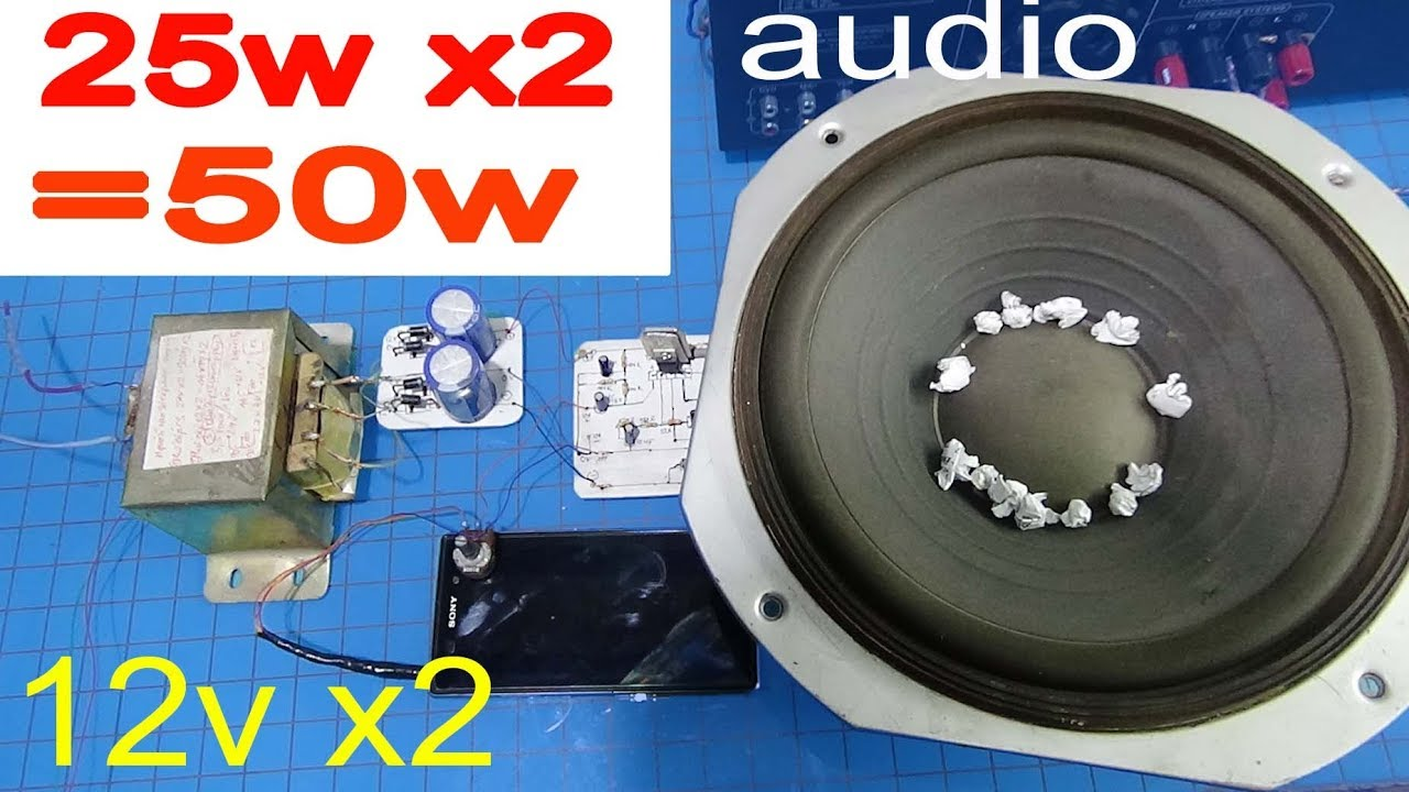 Simple Audio Amplifier How To Make A 12v 50w Youtube 16 W By Lm383