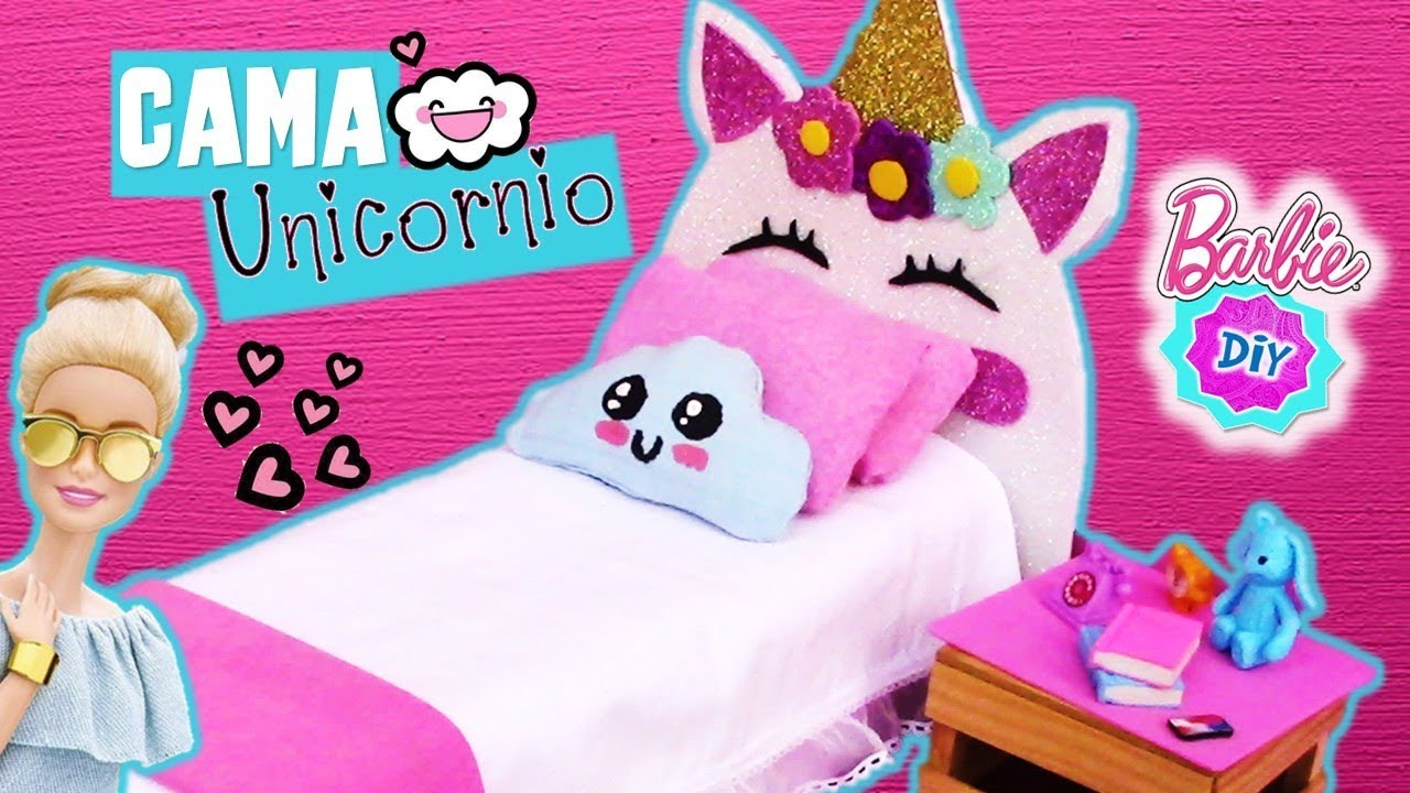 Como hacer cama de unicornio para mu ecas barbie muy f cil for Cama unicornio