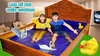 Making Swimming Pools on the bed in the bedroom