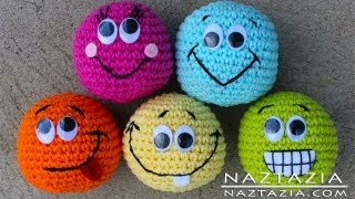Repeat youtube video Learn How to Crochet - Basic Beginner Amigurumi Smiley Face Hacky Sack Ball Toy SC2TOG INVDEC Emoji