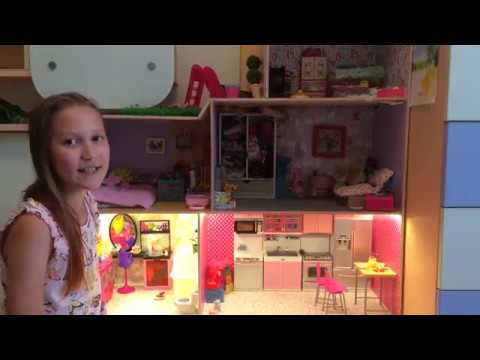 Как сделать кукольный домик своими руками для барби видео из коробки