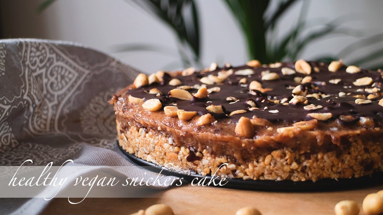 Healthy Snickers Cake 100 Vegan And Almost Raw Youtube