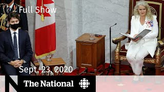 CBC News: The National | Throne speech lays out next steps in pandemic plan | Sept. 23, 2020