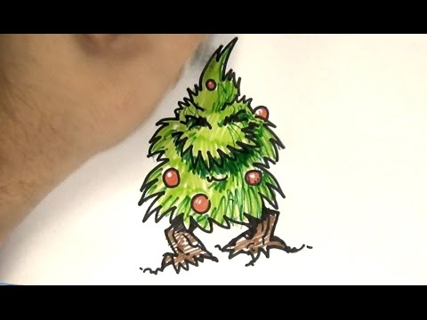 How to Draw a Mutant Christmas Tree - YouTube
