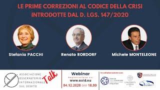 AOID Talk: Le prime correzioni al Codice della Crisi introdotte dal D. Lgs. 147/2020