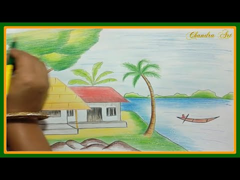 How To Draw Landscapes | Easy Landscape Drawing | Draw Scenery With Colored Pencils