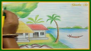 landscape easy drawing scenery pencil drawings draw colored pencils colorful beginners nature landscapes very
