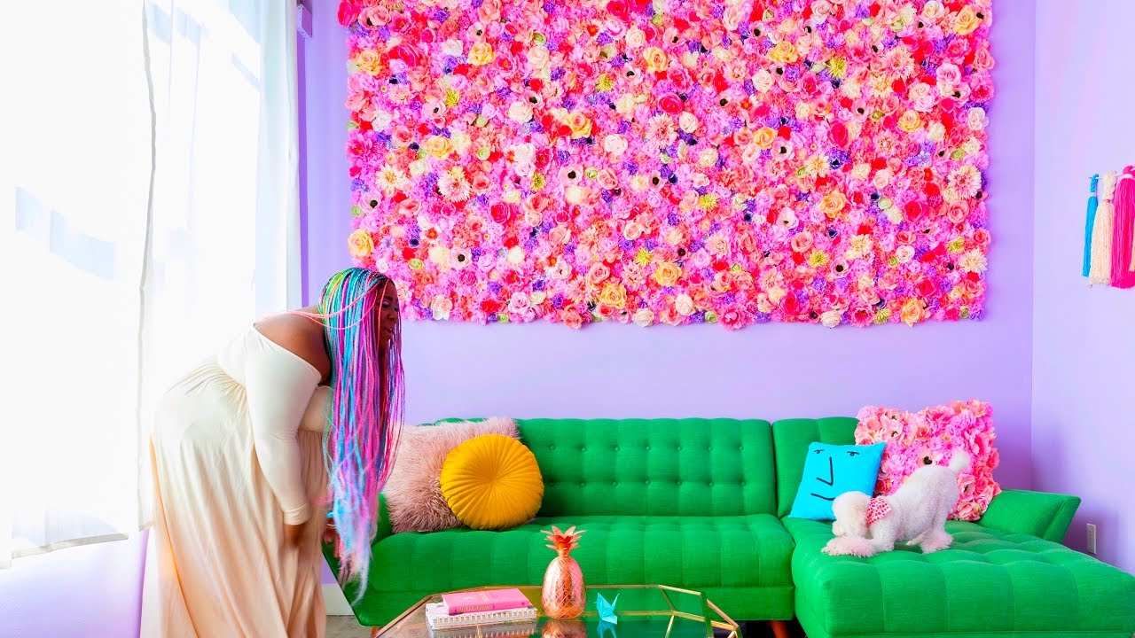 Make this flower wall youtube - Picture wall ideas for living room ...
