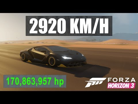 Forza Horizon 3 - 2900KMH+ with 170,000,000HP Centenario! Over 2x Speed of Sound (Dev Build Modding)