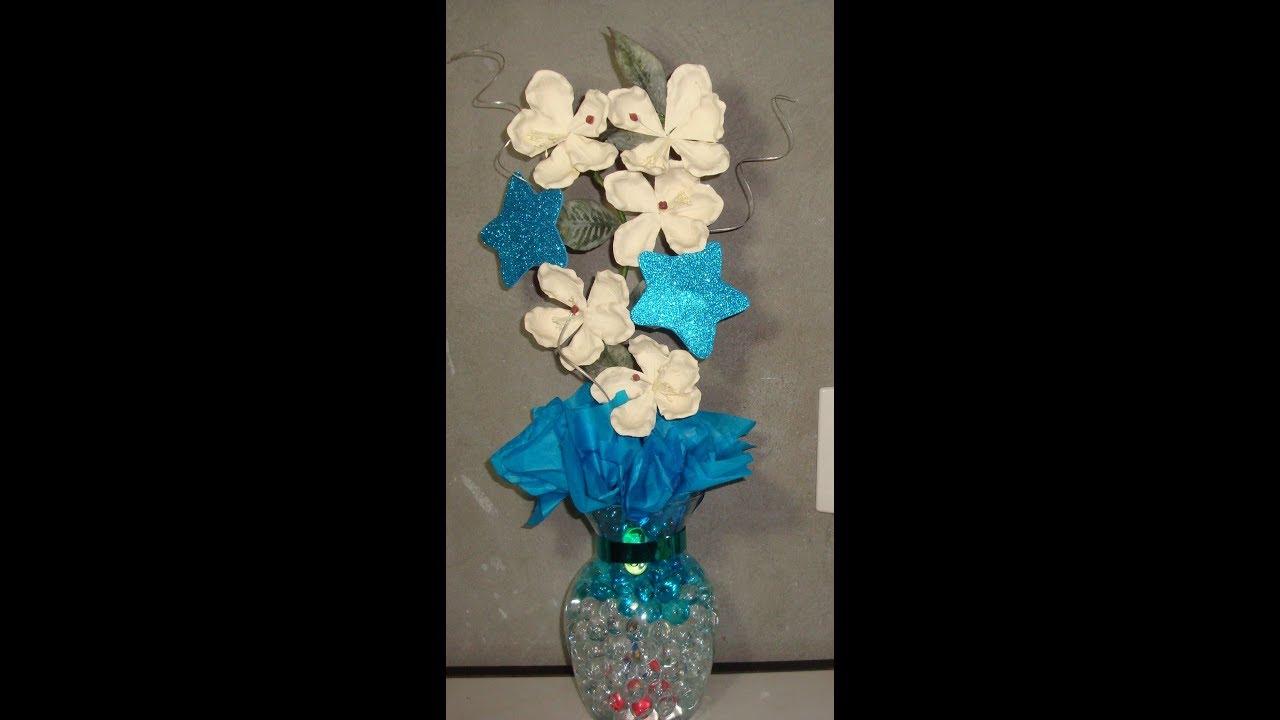 Centro de mesa para 15 a os florero de cristal y perlas de - Mesa centro de cristal ...