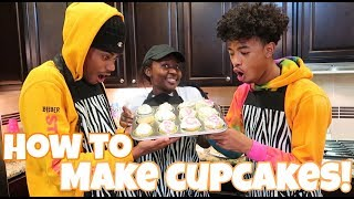 HOW TO MAKE CUPCAKES WITH THE BANANA CREW!!! | COOKING VLOG